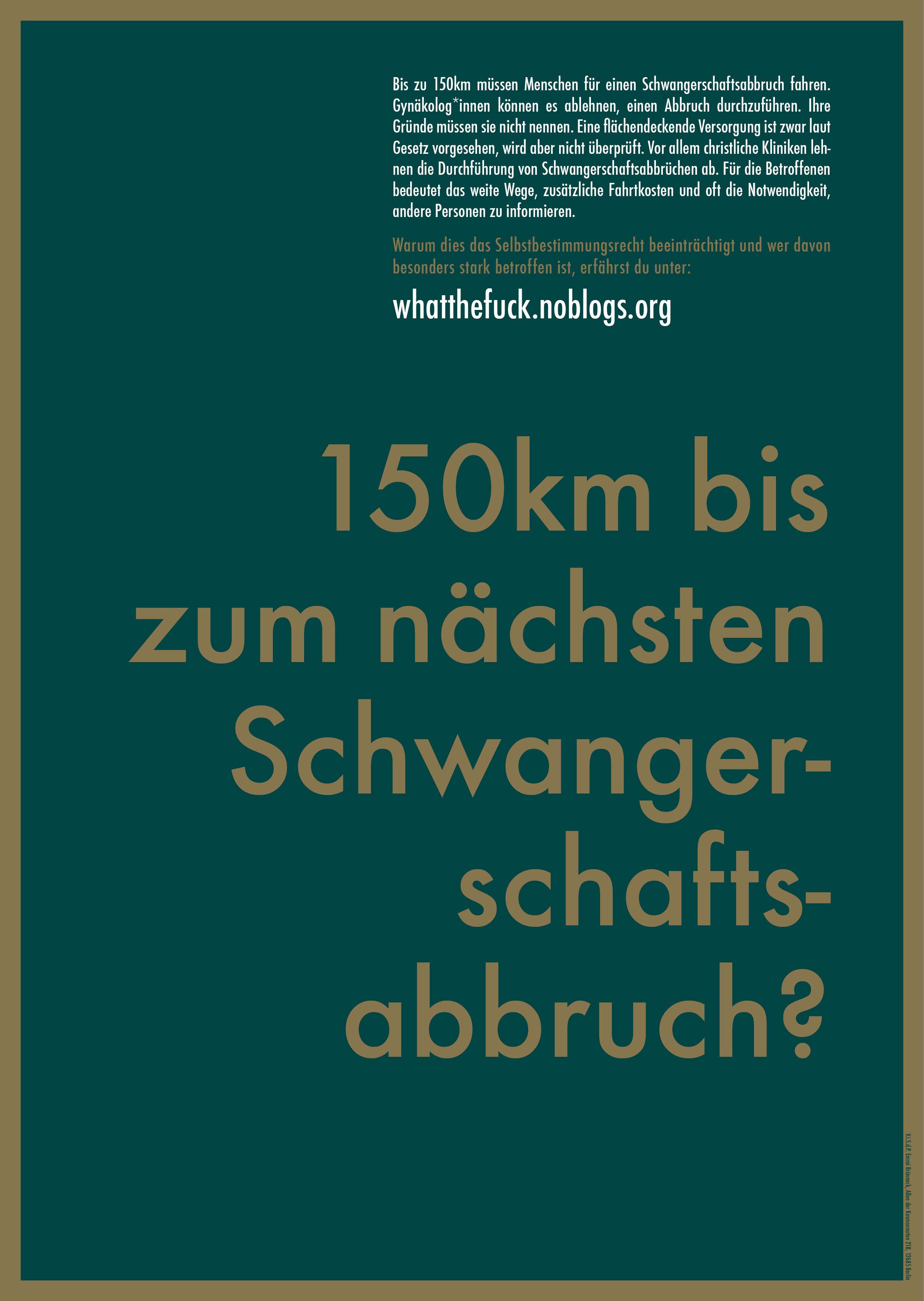 Homepage des What the Fuck bündnisses über die Gegendemo zum Marsch für das Leben. Wie ist die Situation mit Abtreibungen in Deutschland?