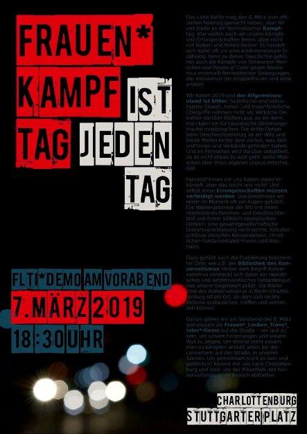 Am 7. März 2019 durch Berlin, vorbei an der Bibliothek des Konservatismus. Alerta alerta Antisexista