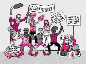 Zeichnung von vielen queeren Menschen mit Aktionsplakaten.
