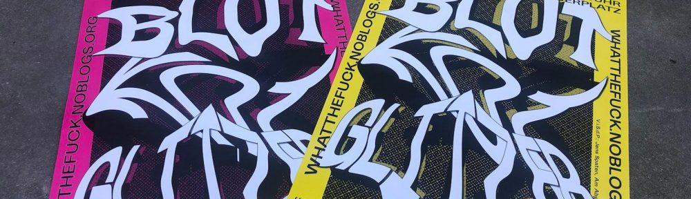 """Ein pinkes und ein gelbes Plakat, das zu den WTF-Protesten in diesem Jahr aufruft. Der Titel ist """"Blut, Kot, Glitzer"""""""